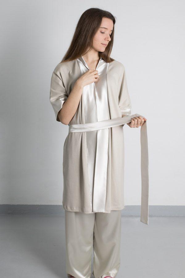 Robe de algodão cetim camel