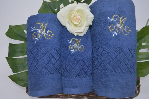 Jogo de banho com barra jacquard viscose e bordado Azul Jeans