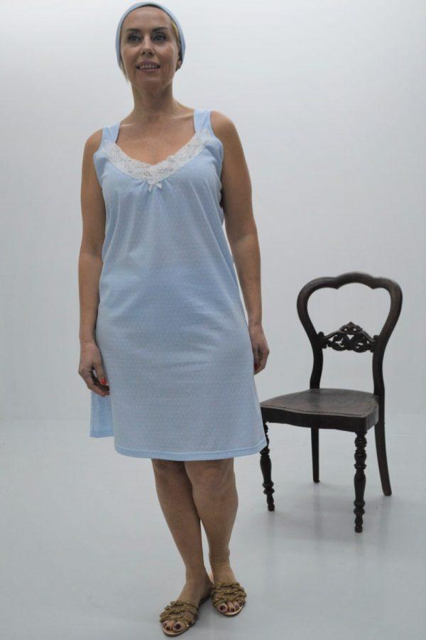 Camisa de noite com alças largas e decote em renda, Azul