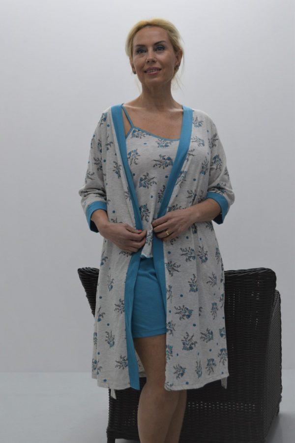 Robe estampado modelo kimono cinza