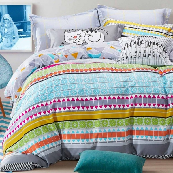 Set of bed sheets and duvet cover with creative prints
