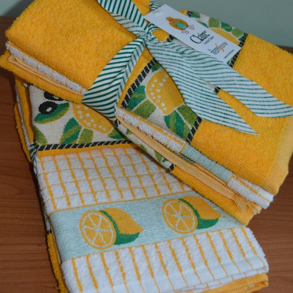 Terry kitchen towels with jacquard border