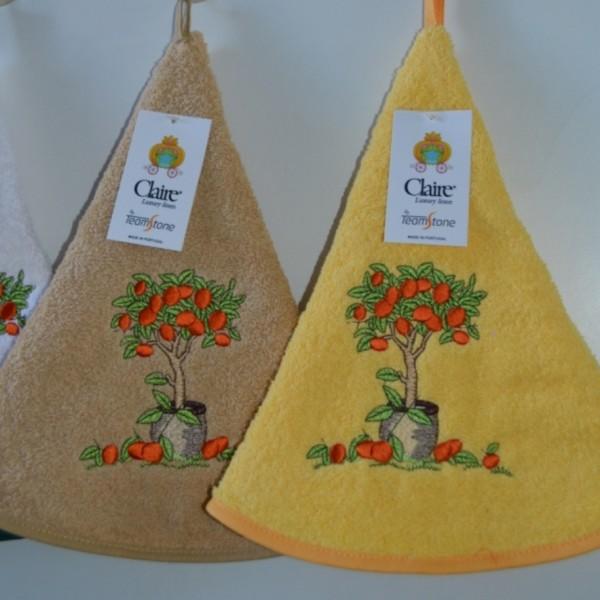 Round terry kitchen towels round, embroidered
