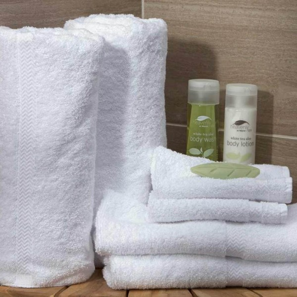 Bath towels white with jacquard border in white terry cotton