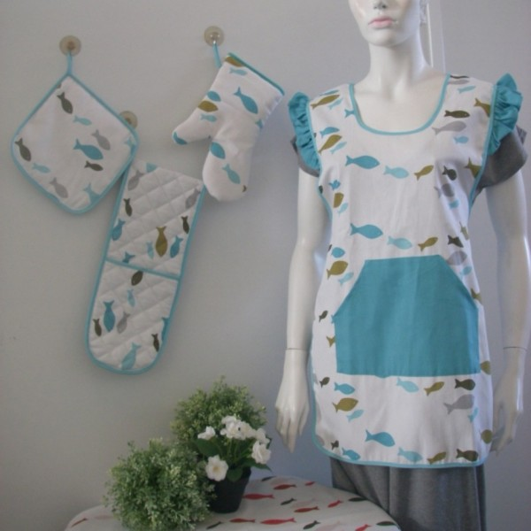 Apron, tablecloth, glove, pot holder, kitchen towel, chair pad, napkin, table runner