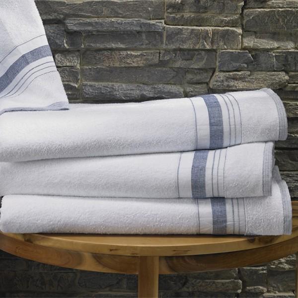 100% cotton terry towels with cotton ton / ton jacquard border. Hotel design.