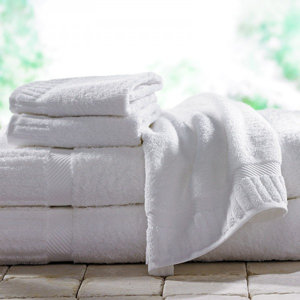 100% cotton terry towels with cotton ton / ton jacquard border. Hotel design. Bath and spa. It