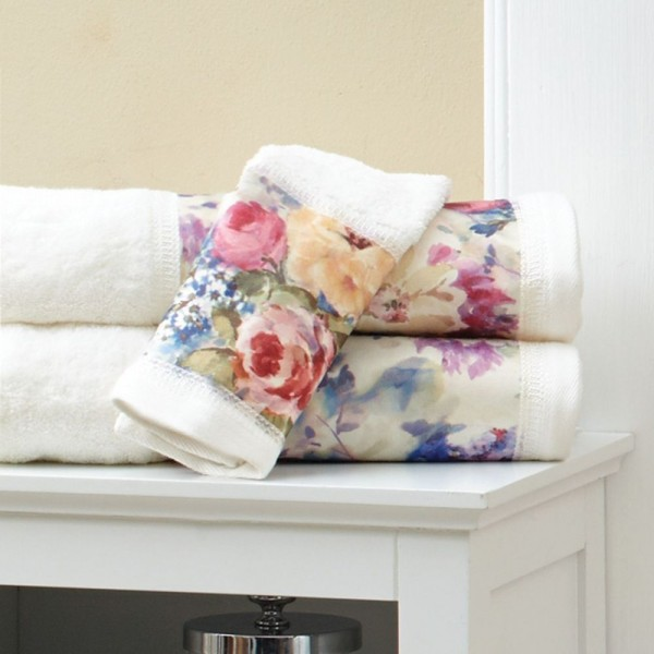 100% cotton terry towels with printed decorative border.