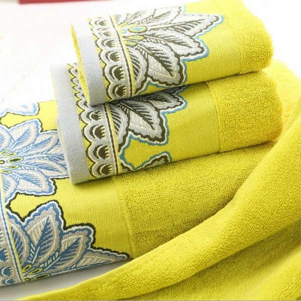 100% cotton terry bath towels with contrasting decorative jacquard border.