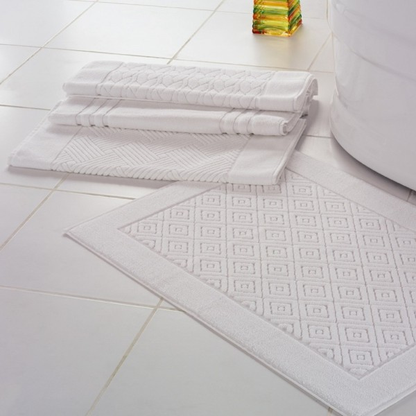 Bathmats in jacquard in white terry 100% cotton