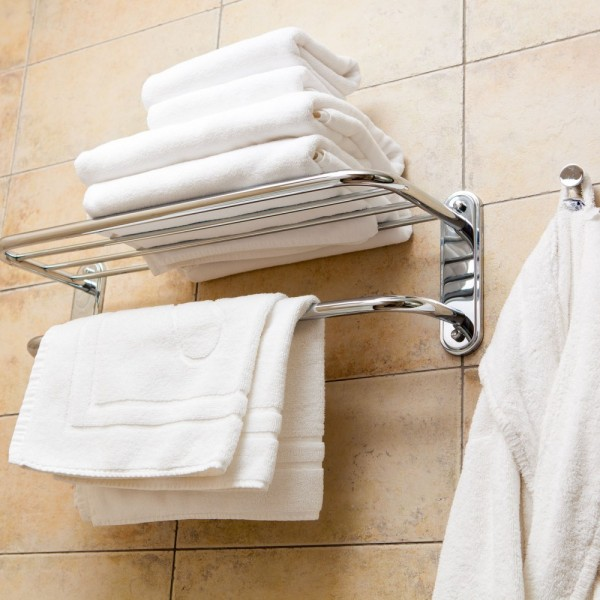 Bath towels, face towels, guest towels, bath mats, bath robe in white terry cotton